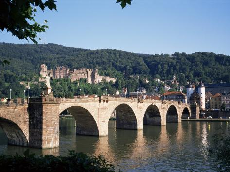 The Old Bridge Over the River Neckar, with the Castle in the Distance, Heidelberg, Germany Photographic Print
