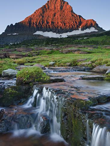Mount Reynolds in Early Morning Light and a Seasonal Waterfall, Glacier National Park, Montana, USA Photographic Print