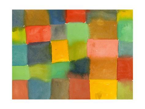 Geometric Pattern of Watercolor Rectangles Art Print
