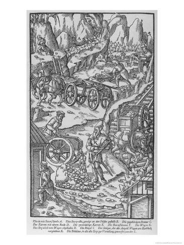 German Miners Bringing Ore from the Mines to Smelter Giclee Print