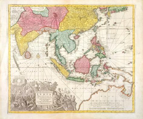 India Orientalis, Adjacentius Insulis, c1740 Exklusivt gicléetryck
