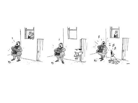 3 drawings. A man plays a accordion beneath a window.  The man in window l… - New Yorker Cartoon Premium Giclee Print