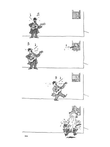 4-panel drawing of man playing guitar. Woman in window plays the horn; he … - New Yorker Cartoon Premium Giclee Print