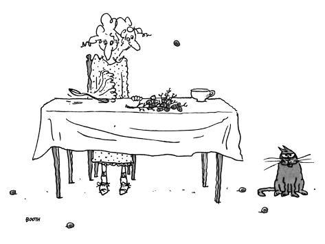 An elderly woman sitting at the dinner table using her spoon to catapault … - New Yorker Cartoon Premium Giclee Print