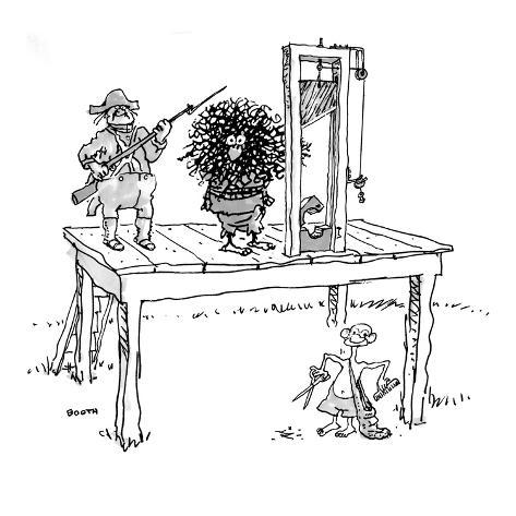 Bald man standing under guillotine with scissors and comb as hairy man is … - New Yorker Cartoon Premium Giclee Print