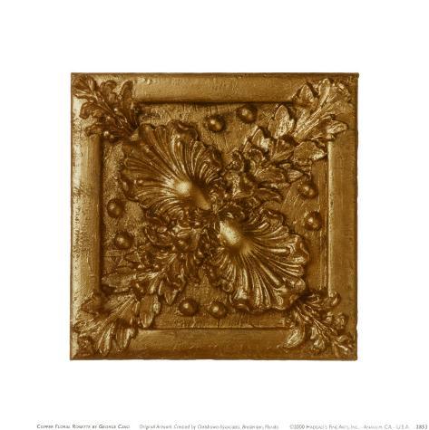 Copper Floral Rosette Art Print