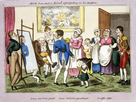 Mr B. Promoted to Lieut. and First Putting on His Uniform, 1835 (Hand-Coloured Aquatint) Giclee Print