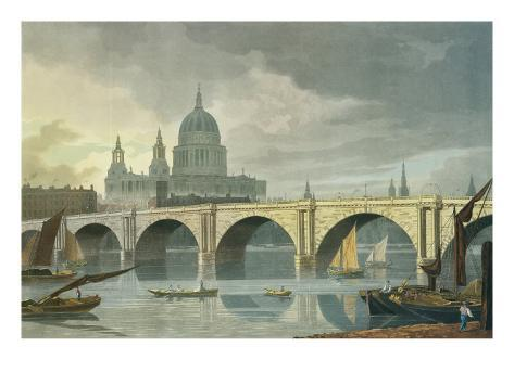 South West View of St Pauls Cathedral and Blackfriars Bridge, 1810 Giclee Print