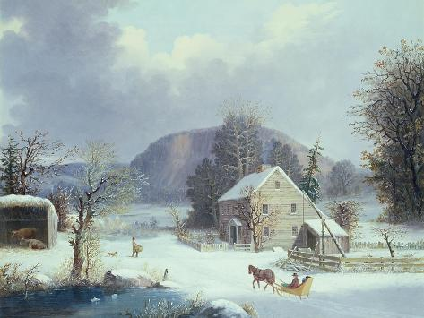 New England Farm by a Winter Road, 1854 Giclee Print