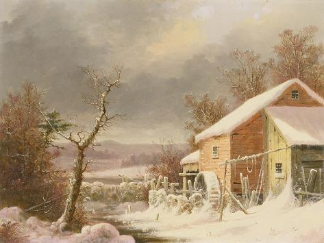 Old Mill in Winter, 1861 Giclee Print