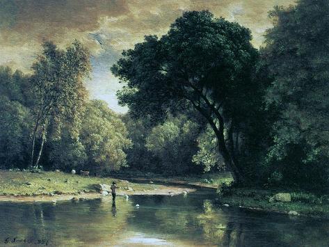 Fishing in a Stream, 1857 Giclee Print