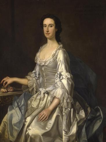 Mary, Wife of Henry, 7th Lord Arundell of Wardour, in a Grey Satin Dress, Holding Roses by a Table Impressão giclée