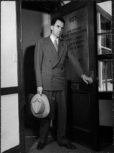 nixon office. Attorney Richard Nixon In The Doorway Of Law Office After Returning From WWII To Resume His Career
