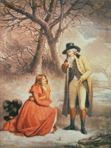 Gentleman and Woman in a Wintry Scene Giclee Print