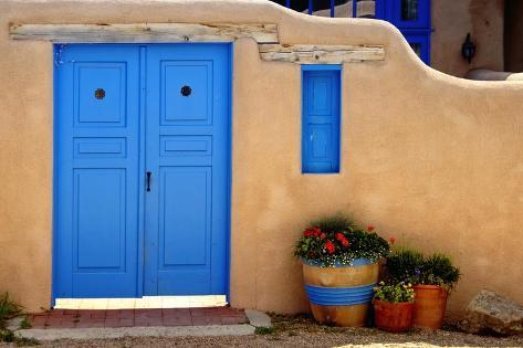 Blue Door And Adobe Wall, Taos, NM Photographic Print