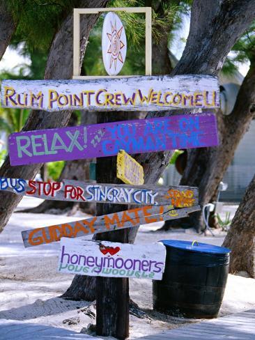 Fun Signpost at Run Point, Cayman Islands Photographic Print