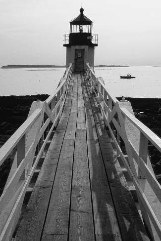 Lighthouse And A Fishing Boat, Maine Photographic Print