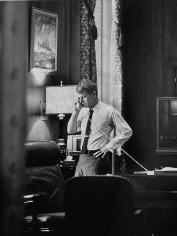 Attorney General Robert F. Kennedy, Talking on the Telephone in His Office Photographic Print