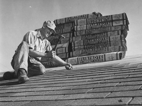 Carpenter Putting Roof on New House That Is Part of a Housing Project Photographic Print