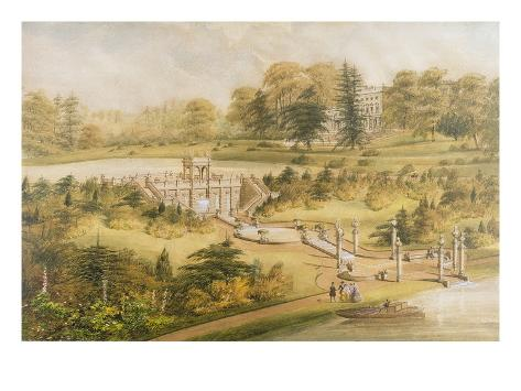 Design for Cowley Manor, C.1860 (W/C, Pen and Ink on Paper) Stampa giclée