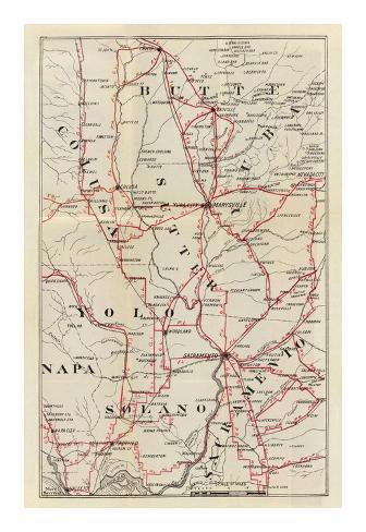 California: Colusa, Yolo, Napa, Butte, Yuba, Sutter, Solano, and Sacramento Counties, c.1896 Art Print