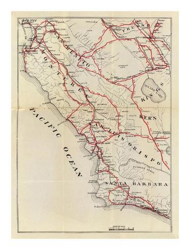 California: San Benito, Fresno, Monterey, San Luis Obispo, Kings, Kern, and Santa Barbara, c.1896 Art Print