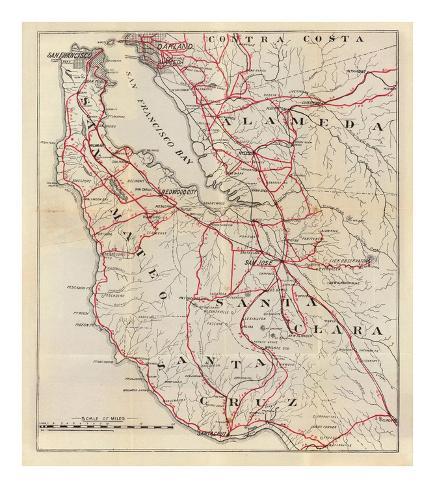 California: San Mateo, Santa Cruz, Santa Clara, Alameda, and Contra Costa Counties, c.1896 Art Print