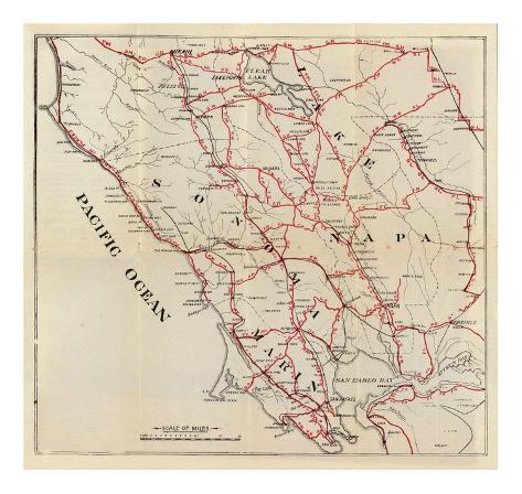 California: Sonoma, Marin, Lake, and Napa Counties, c.1896 Art Print