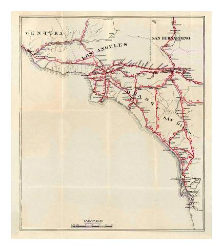 California: Ventura, Los Angeles, San Bernardino, Orange, and San Diego Counties, c.1896 Art Print