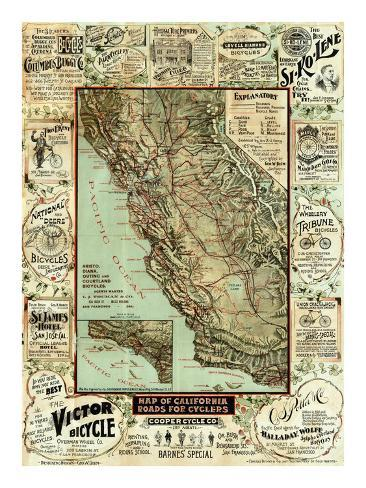 Map of California Roads for Cyclers, c.1896 Art Print