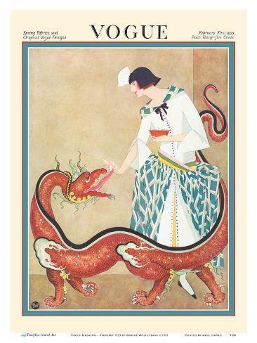 vogue magazine february 1923 woman feeding a chinese dragon art
