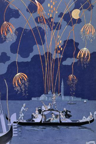 Fireworks in Venice, Illustration for Fetes Galantes by Paul Verlaine 1924 Giclee Print