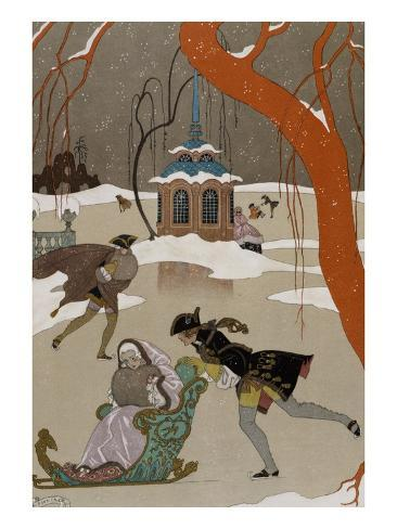 Ice Skating on the Frozen Lake Giclee Print
