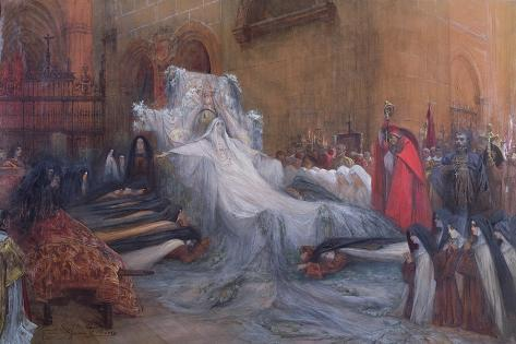 Sarah Bernhardt in the Title Role of Saint Teresa of Avila in the Play 'La Vierge d'Avila' by… Giclee Print