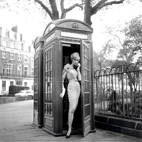 Lucinda in a Telephone Box, London, 1959 Art Print