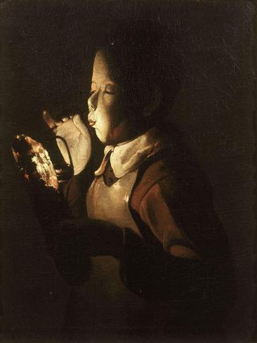 Boy Blowing at Lamp Lámina giclée