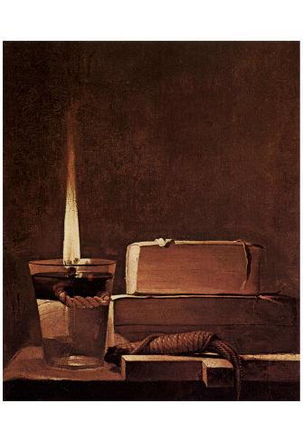 Georges de La Tour (Penitents Maria Magdalena (Magdalena Terfens), detail: candles and books) Póster