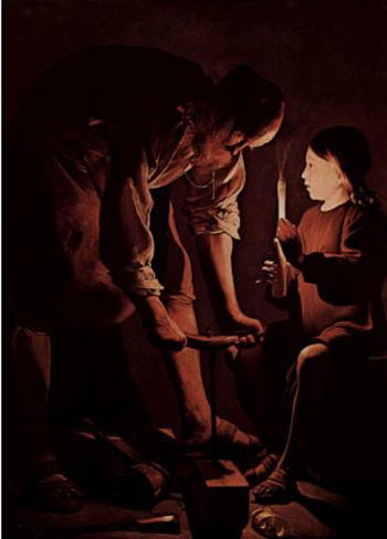 Georges de La Tour (St. Joseph as a carpenter) Art Poster Print Poster