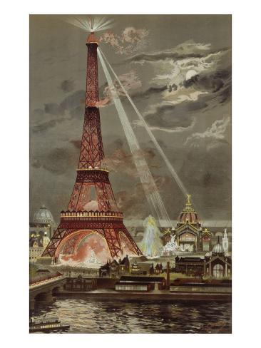 Embrasement de la Tour Eiffel pendant l'Exposition Universelle de 1889 Giclee Print