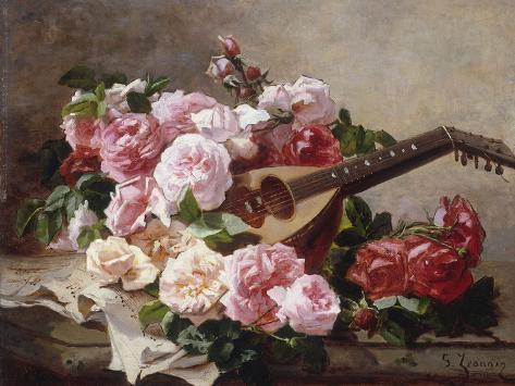Still Life with Roses and Mandolin Giclee Print