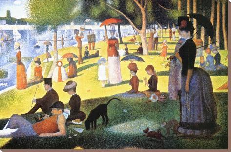 A Sunday on La Grande Jatte 1884, 1884-86 Impressão em tela esticada