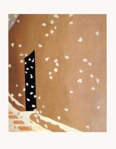 Black Door with Snow Art Print