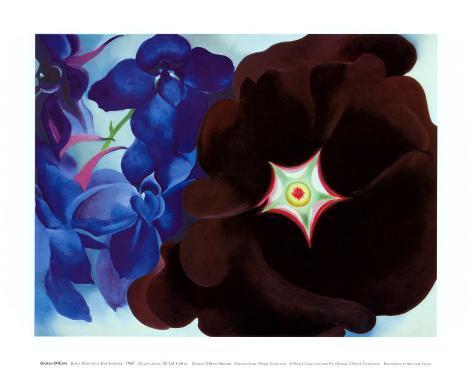 Black Hollyhock Blue Larkspur, 1930 Art Print