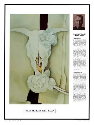 Twentieth Century Art Masterpieces - Georgia O'Keeffe - Cow's Skull with Calico Roses Framed Art Print
