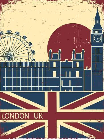 London Landmark.Vintage Background With England Flag On Old Poster Art Print