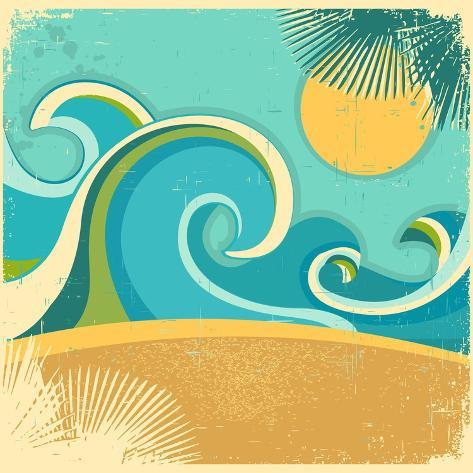 Vintage Nature Sea With Waves And Sun Art Print