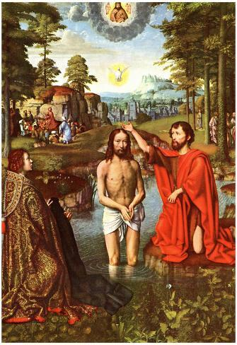 Gerard David Baptism of Christ Art Print Poster Póster