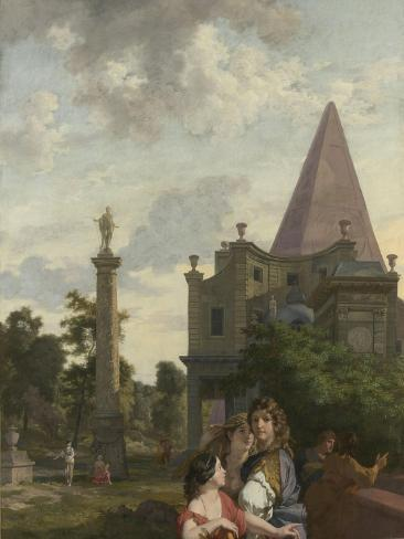 Italian Landscape with Three Women in the Foreground Art Print