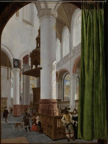 Interior of the Oude Kerk in Delft Art Print