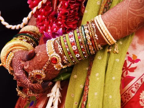 Bejewelled Bride with Henna Hands at Mumbai Wedding Photographic Print